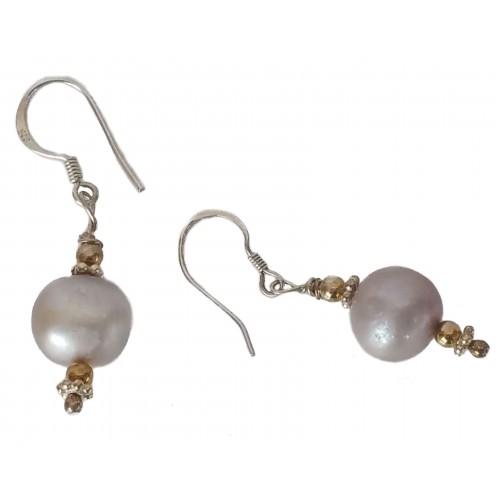 Pendientes plata y perla gris