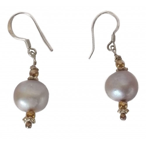 Silver Earrings and gray pearl