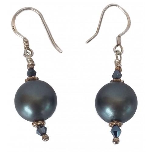 Pendientes plata y perla gris con tupi negro