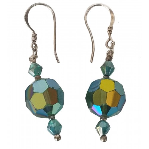 Silver Earrings and green faceted crystal
