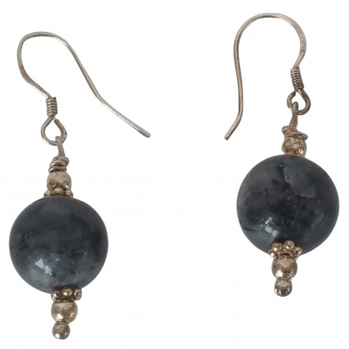 Earrings in silver with gray bead and silver balls
