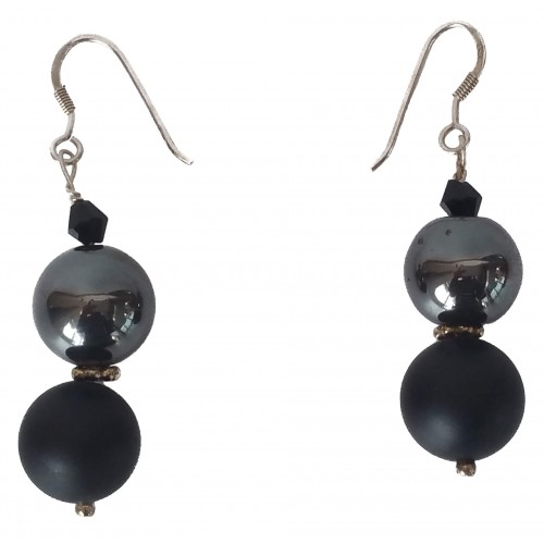 Earrings in silver onyx matte and hematite and silver rondelle
