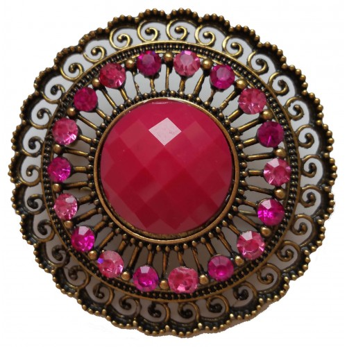 Brooch round in gold metal and resin stone