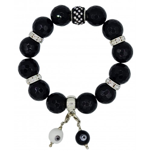 Faceted Onyx Natural Stone Bracelet with central fine crystal dots