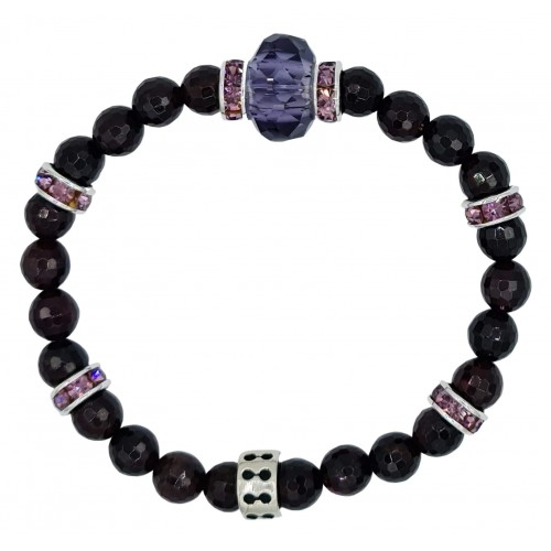 Faceted Garnet Natural Stone Bracelet with central purple fine crystal