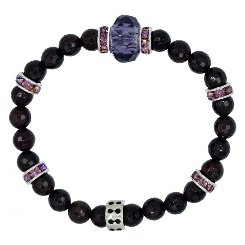 Faceted Garnet Natural Stone Bracelet with central purple fine crystal