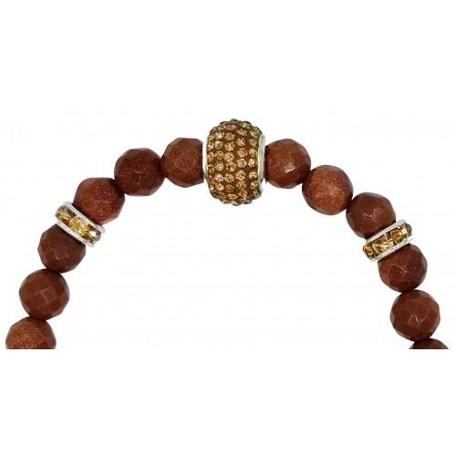 Bracelet in camel aventurine and champagne central fine crystal