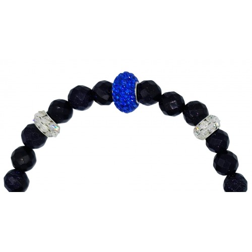 Bracelet in navy blue aventurine and light blue central fine crystal