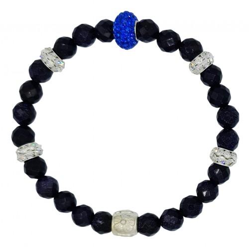 Pulsera de aventurina azul marino y central de cristal fino azulón