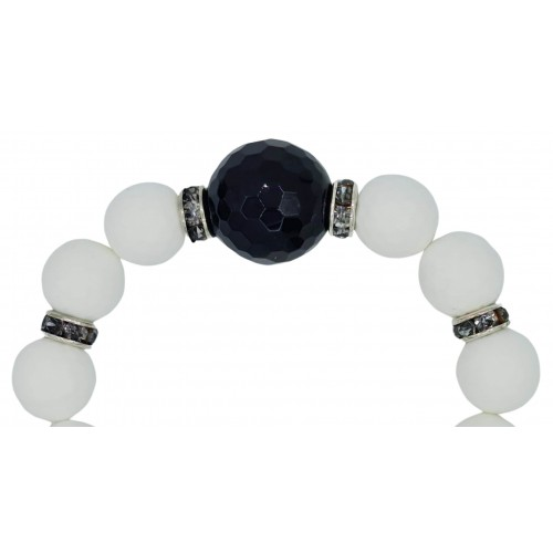 Natural Stone Bracelet in white jade and central onyx bead