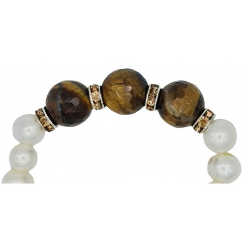 Bracelet in River pearls and tiger eye center with brown stras