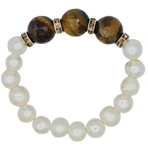 Bracelet in River pearls and tiger eye centerpiece with brown stras