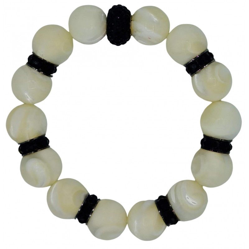 Bracelet of Mother of pearl and black central fine crystal
