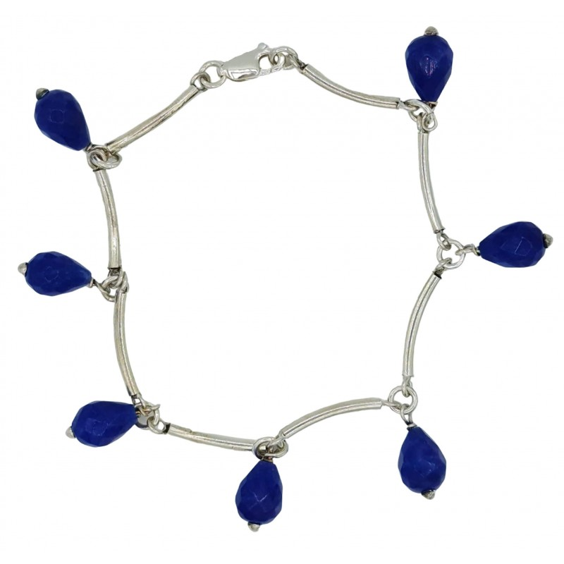 Sterling silver tubes bracelet and hanging agate faceted beads
