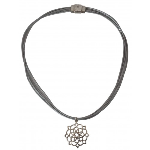 Leather Necklace and sterling silver flower pendant