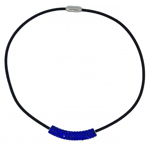 Choker in black leather and blue azur strass tube