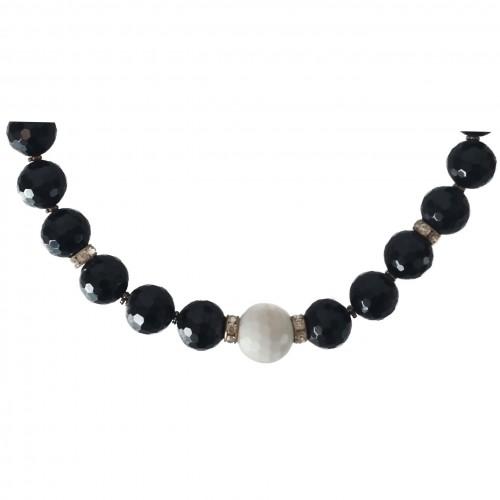 Collar Onix y bola jade blanco